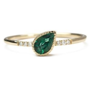 Tsavorite Garnet and Gold Plate Ring w CZ accents